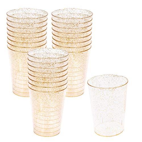Matana 50 Vasos Transparentes de Plástico Duro con Brillo Dorado - 300ml