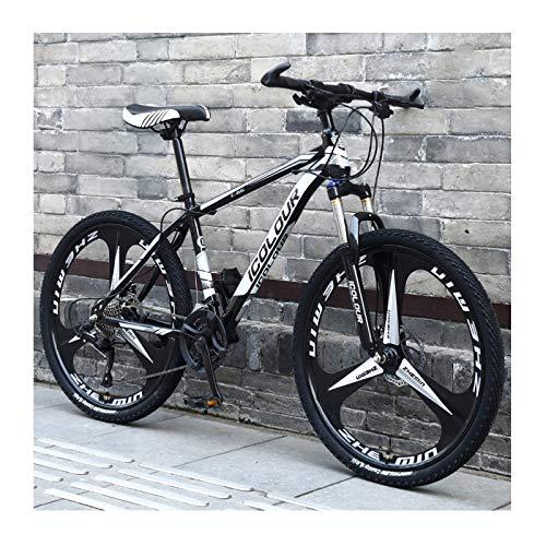 Bicicleta De Montaña De Aluminio Ligero De 24 Pulgadas Y 24 Velocidades, para Adultos, Mujeres, Adolescentes,Black and White