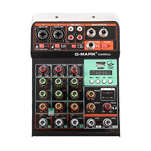 G-MARK Mini-Audiomischer G40 MINI 4 Kanäle B 5V Studio Karaoke Tragbare Bluetooth-Live-Performance KTV Home Stage Stereo-Musik-Soundkarte