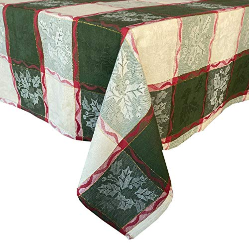 """Lintex Golden Mistletoe and Ribbon Cotton Jacquard Christmas Fabric Tablecloth, Evergreen, Red Ribbon and Berry Woven Holiday and Xmas Easy Care Cotton Weave Tablecloth, 70"""" Round"""