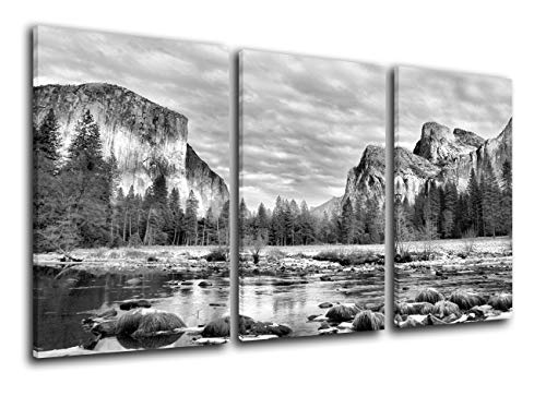 TUMOVO Native American Decor Yosemite Park Pictures for Living Room Valley View Painting on Canvas 3 Piece Wall Art Modern Landscape Artwork Home Decor Framed Gallery Wrapped Ready to Hang(28  x42  )