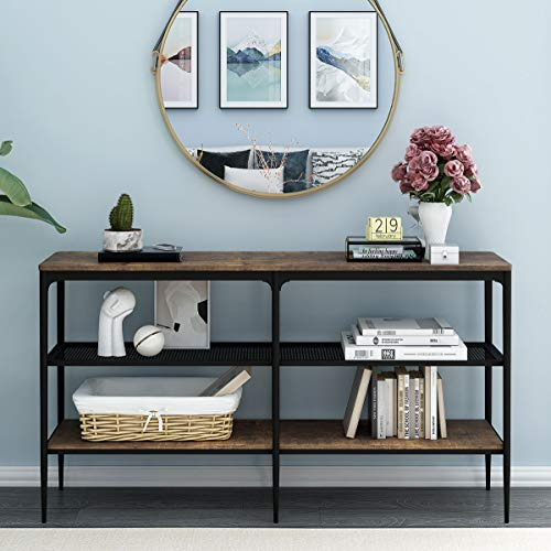 O&K Furniture 3-Tier Industrial Entryway Console Table, Narrow Long Sofa Table with Storage Shelves,...