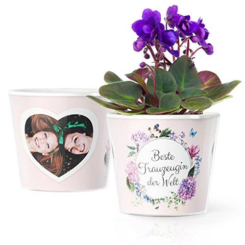 Trauzeugin Geschenk - Blumentopf (ø16cm) für die Beste Trauzeugin der Welt, zur Hochzeit oder Danke Sagen mit Bilderrahmen für 2 Fotos (10x15cm)