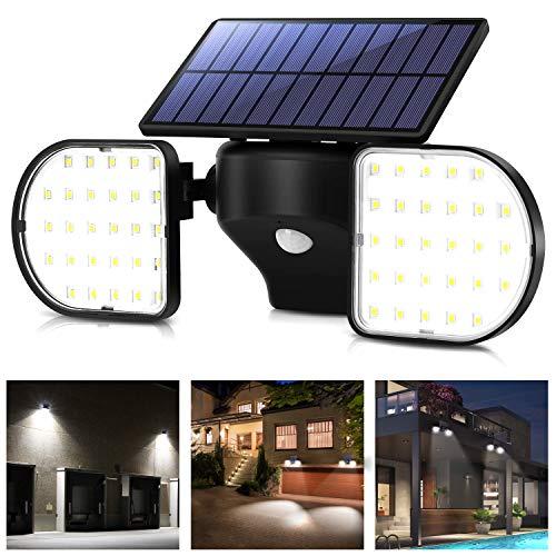 OUSFOT Luz Solar Exterior 56 LED Foco Solar con Sensor de Movimiento 56 LED Lámpara Solar de Seguridad Impermeable IP65 360 ° Ajustable para Entrada Garaje Patio y Jardín.