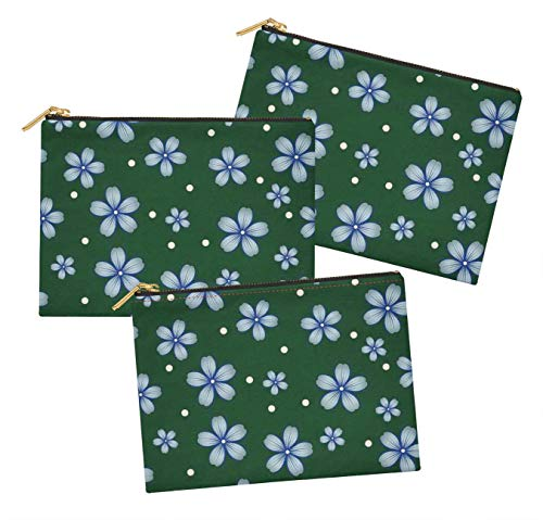 S4Sassy Vert Dot & pervenche Floral 3 Poches zippées Multifonctions imprimées Constituent Un Organisateur de Trousse de Toilette-6 x 8 Pouces