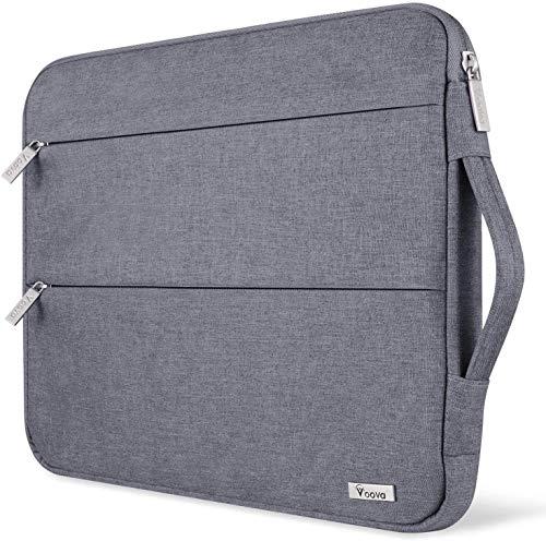 Voova Laptop Hülle Tasche Tablet 11 11.6 12 Zoll mit Handgriff,wasserdichte Laptoptasche 12 Zoll Sleeve für Surface 7 6/Chromebook/MacBook air/IPad pro 12.9 mit 2 Taschen,Notebook Laptophülle Hülle-Grau