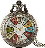GUOSHUFANG Reloj de bolsillo de bronce con números romanos, reloj de bolsillo para hombres, reloj de bolsillo de cuarzo, regalo
