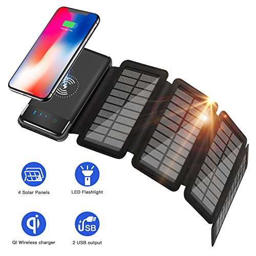 Solar Charger 10000mah Power Bank Solar Portable Charger Qi Wireless Charger for Outdoors, 2 Inputs 2 USB Outputs,External Battery Pack with LED Flashlight Compatible Most Smartphones,Tablets and More