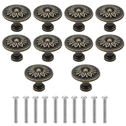 NATUCE 10PCS Bronzo Vintage Pomelli per Porta, 32MM Retro Pomolo per Mobile, Pomelli per Mobili, Maniglia per Armadietto, Manopole per Mobili da Cucina, Shabby Pomelli per Cassetti, Armadio Cassetto