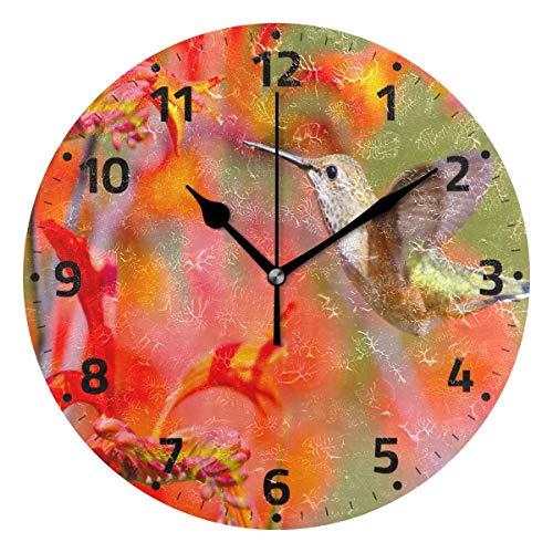 KUYJTHT Reloj de pared con flores de colibrí para dormitorio, cocina, sala de estar, oficina, 9.4 pulgadas