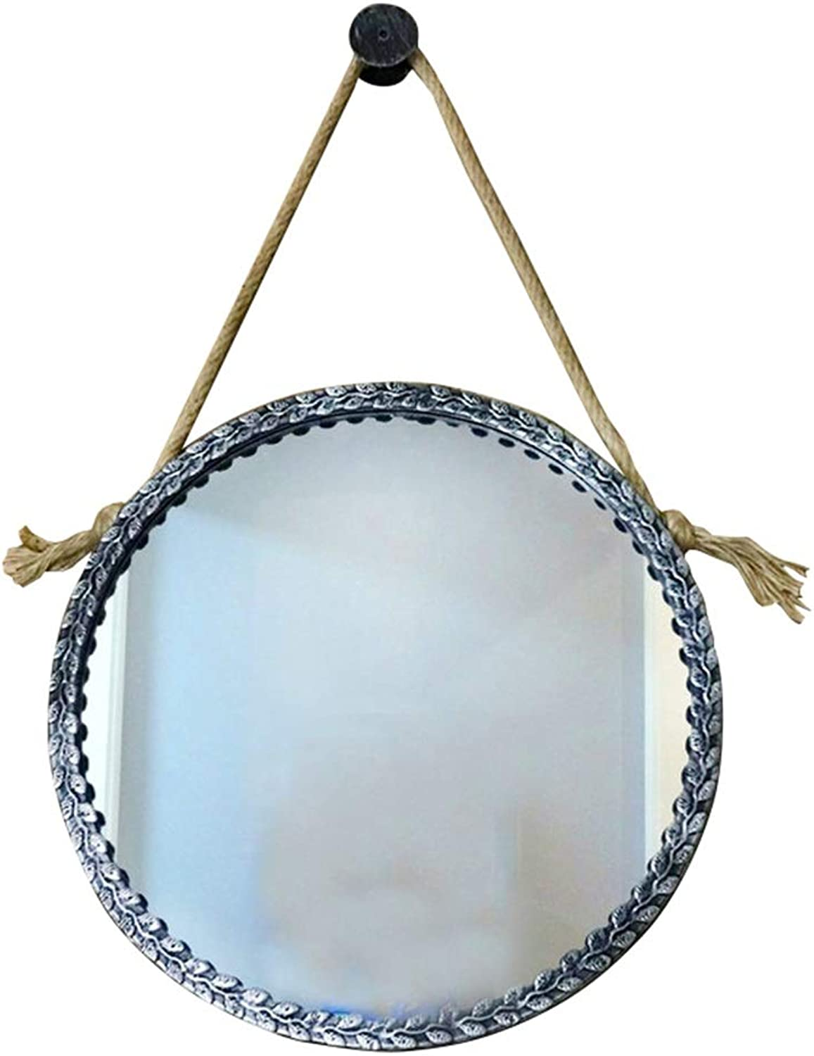 Retro Round Wall Bathroom Mirror Hanging Mirror with Rope   Circle Wall Mounted Vanity Mirror and Shaving Mirror   Wall Decorative Mirror Holde   Metal Frame (Size   Diameter 40cm)