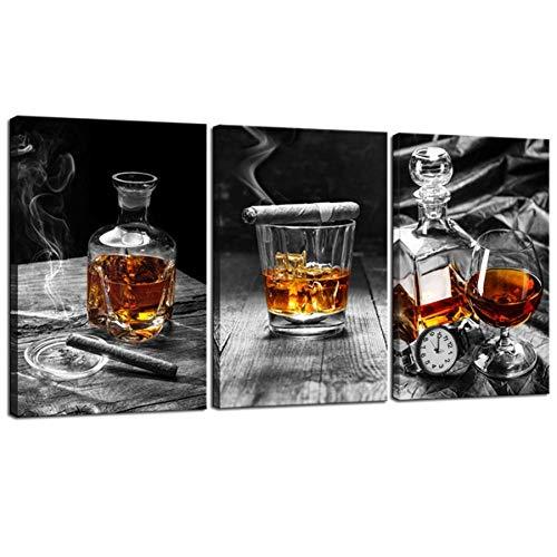 liafa Whisky Zigarre Malerei Stillleben Wirkung DIY dekorieren 5d moderne Küche Wohnzimmer Pub Wanddekoration 3pc