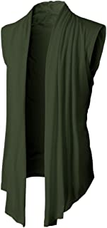 Men's Summer Ruffle Shawl Sleeveless Cardigan Lightweight Cotton Long Length Drape Cape Vest