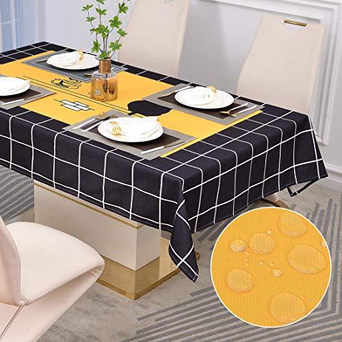 Tovaglia Rettangolare in Panno Oxford Tovaglia Antimacchia per Cucina Caffetteria Ristorante (140*220cm, Caffè & Gatto)