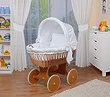 WALDIN Cuna Moisés, carretilla portabebés XXL, 26 modelos a elegir,Madera/ruedas lacado,color textil blanco