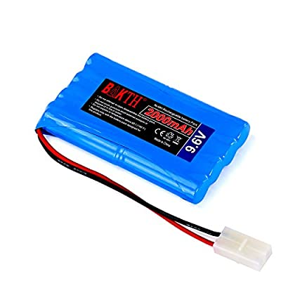 BAKTH High Capacity Security 9.6V 2000mAh Rechargeable Low Self Discharge NiMH Battery Pack with Tamiya Connector for RC / Remote Control Car, Robots + Customized Coaster