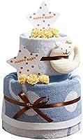 今治タオル imabari towel 出産祝い 日本製 オーガニック 2段 名入れ刺繍 バスタオル おむつケーキ 紋ごのみ (メリーズテープタイプMサイズ)