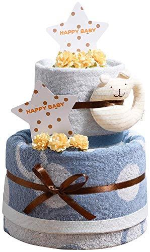 今治タオル imabari towel 出産祝い 日本製 オーガニック 2段 名入れ刺繍 バスタオル おむつケーキ 紋ごのみ (goonパンツタイプLサイズ(男の子用))