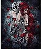 LLYMGX Puzzle Rompecabezas De Madera para Adultos 1000 Piezas Puzzle Skull Girl Red Rose DIY Kit Puzzle Modern Home Decor Boys Girls Gift Unique Stress Reliever