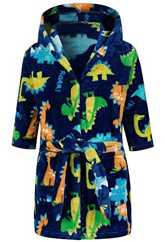 Lodunsyr Bademantel Kinder mit Kapuze Blau Dinosaurier für Jungen Mädchen Bademäntel Morgenmantel kuschelig warmen und weichen Pyjamas Kleinkind Coral Fleece Hoodie Roben 2-9 Jahre