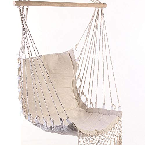 Hammock Chair 100x55cm Deluxe Hanging Hammock Swing Garden Hanging Chair with Wooden Stretcher Garden Hammock Chair (Color : Beige, Size : 100x55cm)