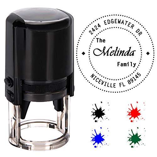 Personalisierte Stempel Runden,Individueller Stempel-Durchmesser 40mm Gummi Stempel mit 4 Optional Tinte Farben-Schwarz, Rot, Blau, Grün