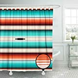 Capsceoll Colorful Shower Curtain,Cool Shower Curtain Turquoise Orange Amp White Blanket Stripes Pattern Mexican Serape Rug Texture Threads Shower Curtain for Women 72X72 Inches Bath Shower Curtain