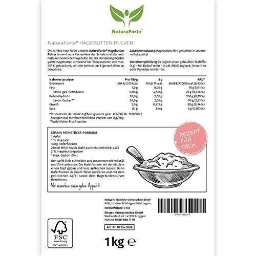 NaturaForte Rosa Canina Polvere 1kg - Vitamina c pura in polvere, Crudo, Senza Glutine e senza Zucchero aggiunto, vitamina c polvereNaturale, Soprattutto per le Articolazioni