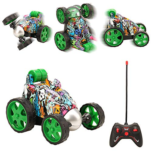 Barwa Remote Control Car, RC Vehicle Four Wheel 360° Rolling Rotating Stunt Car Light Radio Control Cars for Toddlers, Kids, Boys & Girls