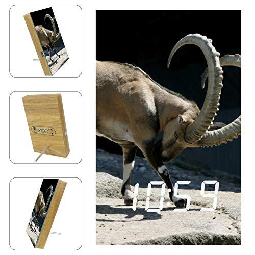 Vockgeng Despertador LED Ovejas en Piedra con Fecha de Puerto de Carga USB y función de Control de Voz, Adecuado para niños y Adultos 16x9.8x2.2 cm