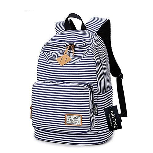 Artone Banda Scuola Borsa Daypack Casuale Zaino Con Scomparto Laptopt Bianco Blu Profondo