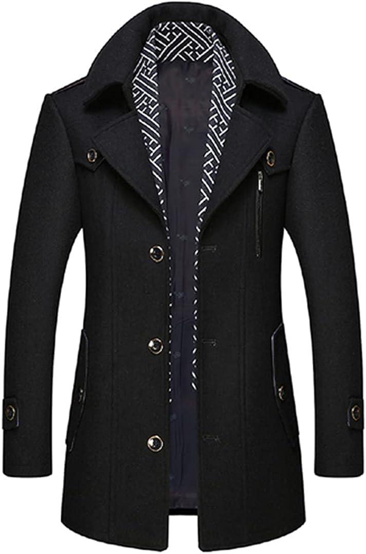 Wool Coat Men Casual Stylish Woolen Mens Coats Single Button Warm Outwear Overcoat With Scarf