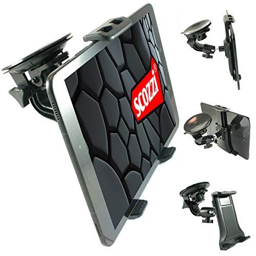 "scozzi Tablet Halterung Auto (9cm Saugnapf) Scheibe Halter (universal für 7-11\"" kompatibel mit Apple iPad, Samsung Galaxy Tab, Huawei MediaPad) 11 4 3 2 S7 S6 S5e S4 A7 A E M6 M5 T5 Lite Air Mini Pro"