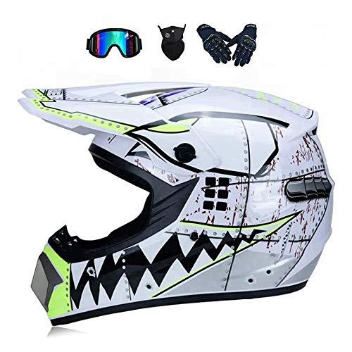 LALAGOU - Casco de motocross para niño, casco de moto, quad, casco de motocross, para adulto, para MTB, ATV, con gafas, guantes, máscaras, color múltiple (C, M 54-55 cm)