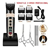 Best Clippers For Poodles - Dog Grooming Clippers 3-Speed Professional Rechargeable Cordless Electric Review