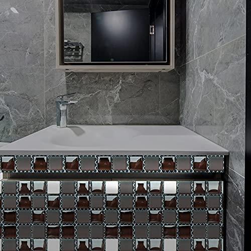 Azulejos de pared de mosaico 3D, papel tapiz de pegatinas de pared de película brillante recubierto de PVC, decoración autoadhesiva extraíble habitación cocina baño 20cm*20cm 10 piezas JHXC161