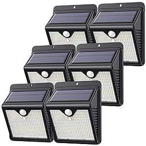 【6 Paquete】150 LED Luz Solar Exterior, Feob Súper Brillante Foco Solar Exterior con Sensor de Movimiento, 180°Iluminación, 1000 Lumens IP65 Impermeable Lampara Solar para Exterior Jardin (luz blanca)