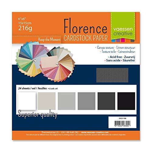 Vaessen Creative Florence Scrapbook-Papier 216 g 6x6-x24 Blatt-Multipack, schwarz, Paper, Multicolor, 15 x 15 x 0.8 cm