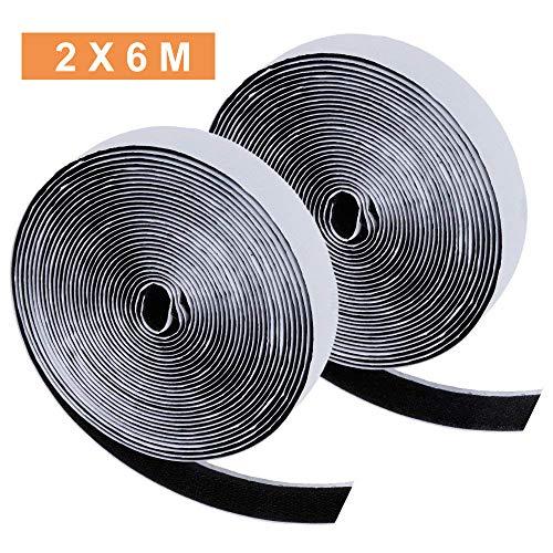 Zacro 2*6m Klettband Selbstklebend 12m Extra Stark Doppelseitiges Klebeband Flausch und Haken 20mm Breit für Alle Arten von Grafikrahmen Installation