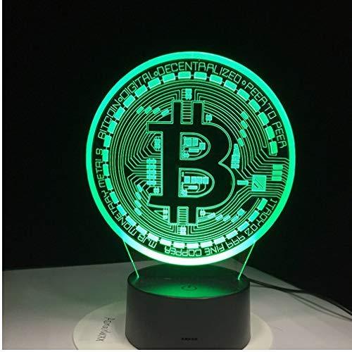 LED-Lampe 3D Bitcoin Zeichen Modellierung Nachtlichter 7 Farben USB-Münze Schreibtischlampe Baby Schlafzimmer Schlaf Beleuchtung Zubehör Dekoration Geschenke