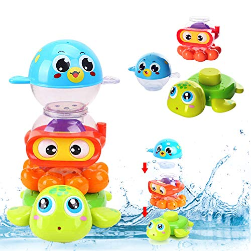Liberty Imports Baby Bath Toys Waterfall Stack and Spray Sea Animals - Nesting Cups Stackable Game Toddlers Kids Bathing Tub Water Squirter Spraying Station Playset (Set of 3)