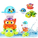 Liberty Imports 3 PCS Baby Bath Toys Waterfall Stack and Spray Sea Animals - Nesting Cups Stackable Game Toddlers Kids Bathing Tub Water Squirter Spraying Station Playset