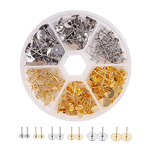 PH PandaHall 300pcs 3 Size Blank Earring Pins 304 Stainless Steel Blank Peg Post Ear Studs Earrings Posts Flat Pad for Jewelry Making Findings, Golden and Stainless Steel Color