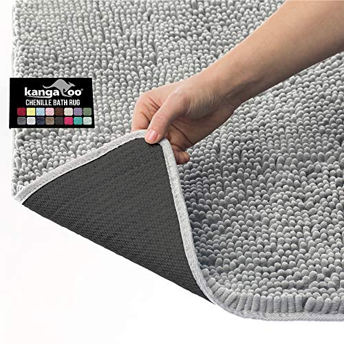 Kangaroo Plush Luxury Chenille Bath Rug, 30x20, Extra Soft and Absorbent Shaggy Bathroom Mat Rugs, Washable, Strong Underside, Plush Carpet Mats for Kids Tub, Shower, and Bath Room, Light Gray