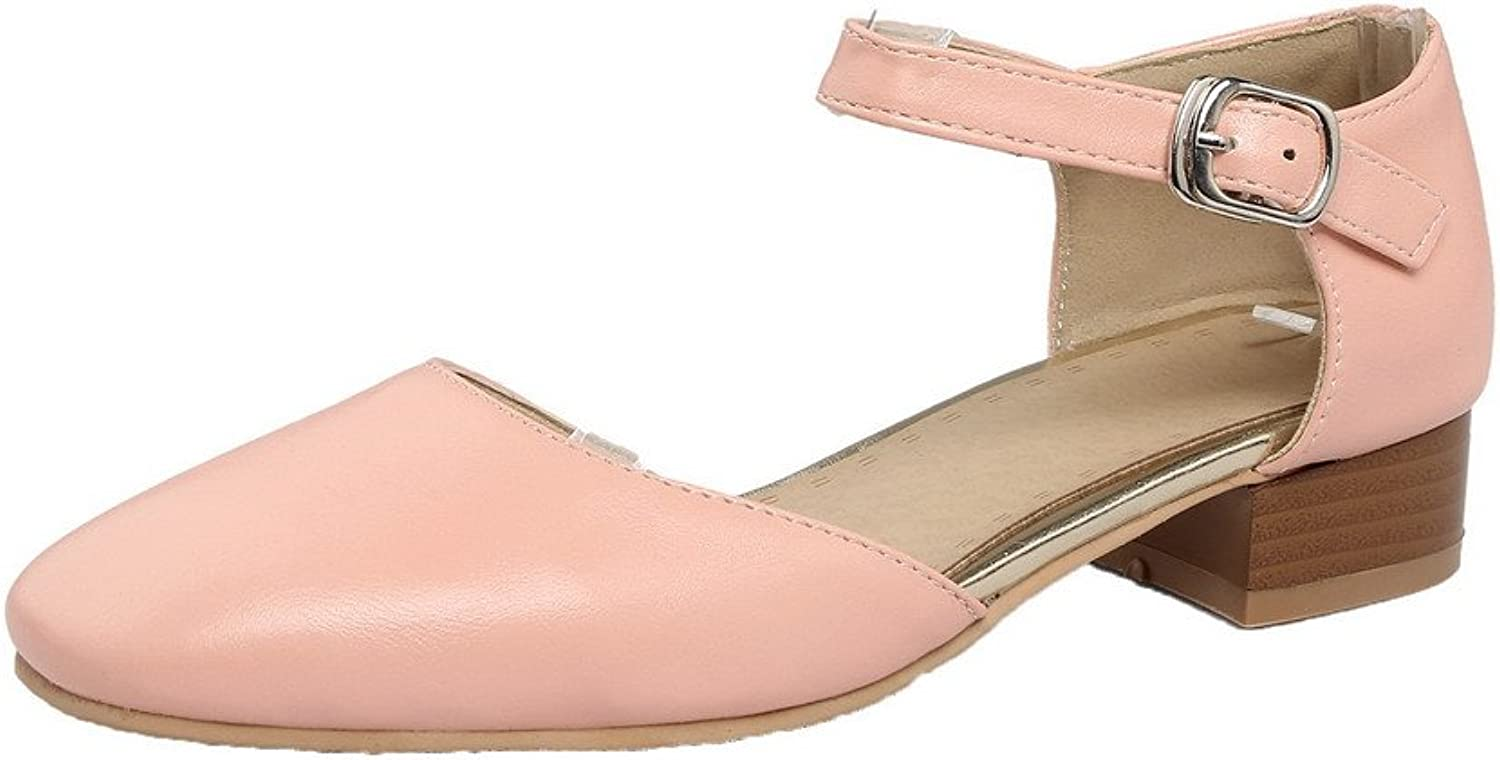 AmoonyFashion Women's Solid PU Low-Heels Pull-On Closed-Toe Pumps-shoes