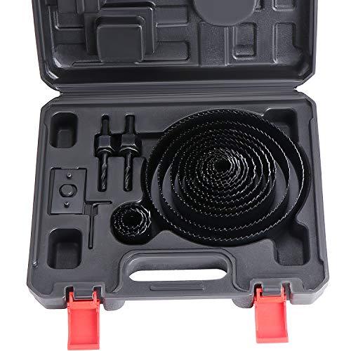 WiMas Juego de 19 piezas de corte de sierra de corona profesional de acero al carbono, herramientas de brocas para madera, placas de yeso (negro, 19-152 mm)