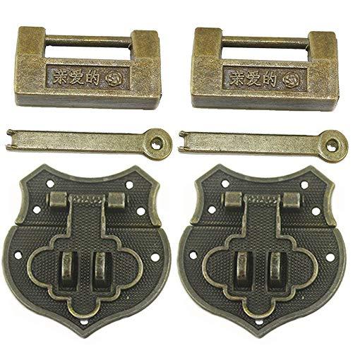 2 juegos de candados vintage y cerradura china tallada con llave y cierre de pestillo para cajas pequeñas, armario, caja de regalo