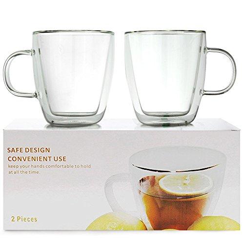 [Set of 2] 10 oz Double Wall Ultra Clear Insulated Coffee Mugs Espresso Mocha Green Black Tea Cups USA Company, Real Borosilicate Glass ~ We Pay Your Sales Tax