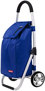 JPVGIA Lightweight Shopping Trolley, Hard Wearing & Foldaway for Easy Storage, Portable Shopping Cart with Quiet Wheels, Grocery Cart with Removable Bag, Utility Cart (Color : Blue)