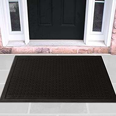 Ottomanson Rubber Doormat Entrance Rug Indoor/Outdoor Door Shoe Scraper Entryway,Garage and Laundry Room Floor Mat, Weather-Resistant, 18  x 30 , Charcoal